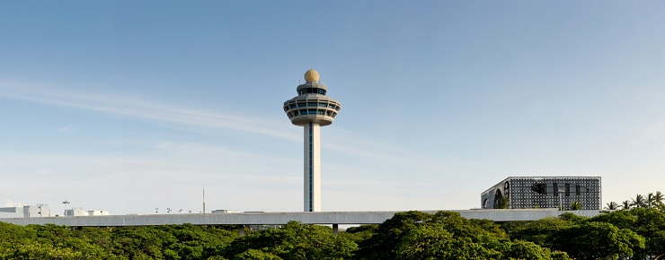The control tower of Changi Airport in Singapore