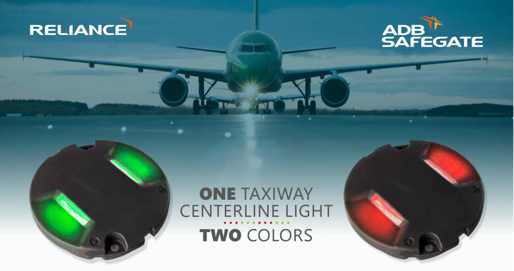 One taxiway senterline light. Two colors