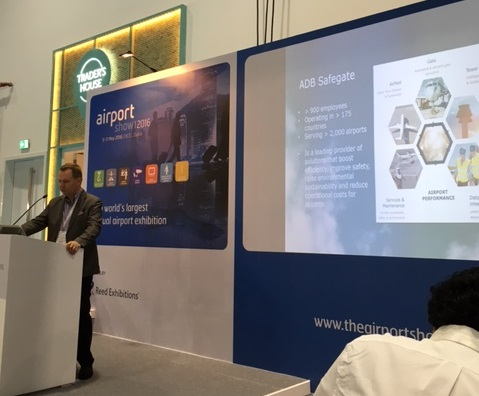 ADB Safegate's Roy Bolwede presenting at Dubai Airport Show 2016