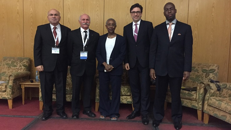 ADB SAFEGATE's Alexander Herring with Angela Gittens and more at ACI Africa